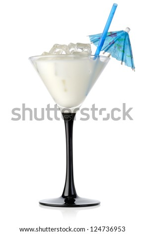 Milk cocktail in a glass isolated on a white background - stock photo