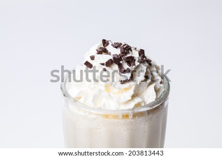Milk cocktail with whipped cream and chocolate - stock photo