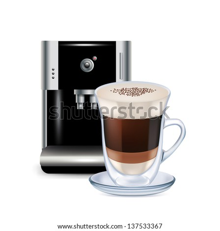 milk coffee and coffee machine isolated on white - stock photo