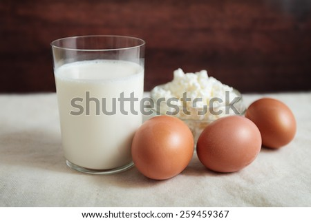 milk egg grainy curd health calcium dairy products useful village rural Breakfast - stock photo