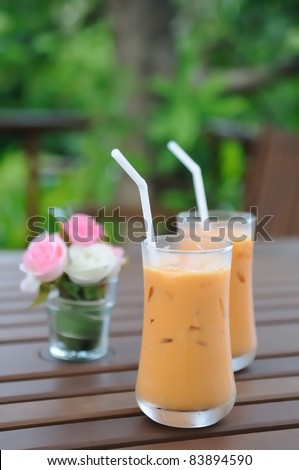 milk ice tea - stock photo