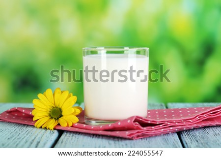 Milk in glass on napkin on natural background - stock photo