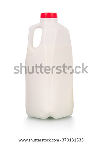 Milk in plastic bottle with red cap  over white background - stock photo
