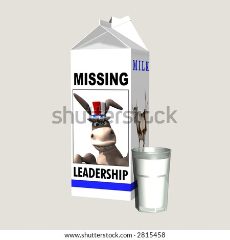Milk - Missing Democrat Leadership. Democrat represented by a donkey on a milk carton. Political humor. Isolated on a solid background. - stock photo