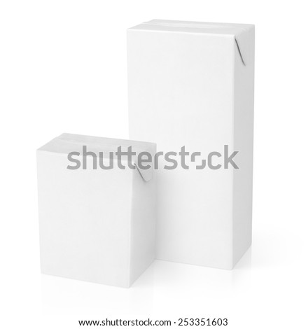 Milk or juice carton packages isolated on white background - stock photo