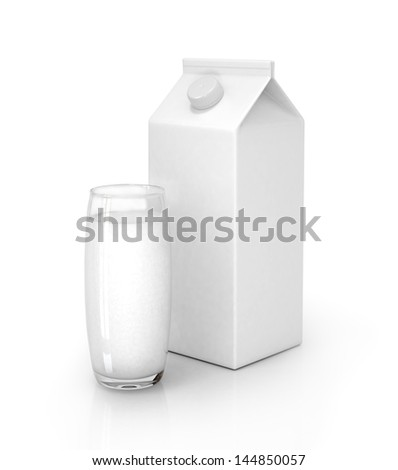 Milk pack and glass of milk isolated on white - stock photo