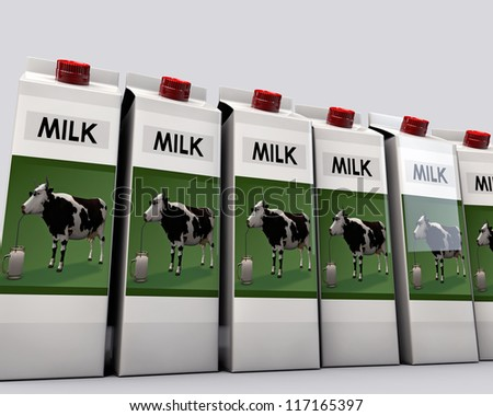 milk packages isolated on white background - stock photo