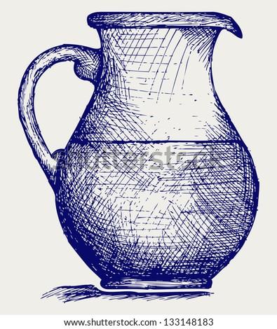 Milk pitcher. Doodle style. Raster version - stock photo