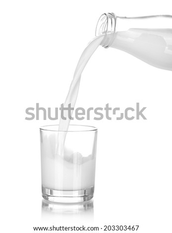 Milk pouring from a bottle in a glass isolated on a white  - stock photo