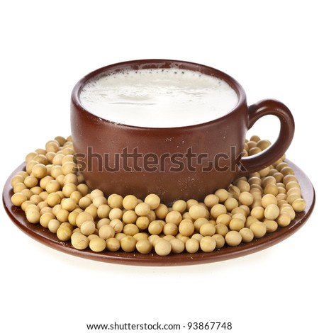 Milk powder dry soy beans beverage in a clay cup  Isolated on white background - stock photo
