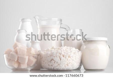 milk products: cheese, milk, yogurt, sour cream. - stock photo