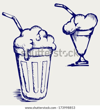Milk shake. Doodle style. Raster version - stock photo