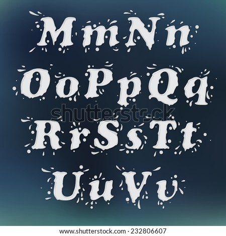Milk Splash Font. Set Vol.2 M-u - stock photo