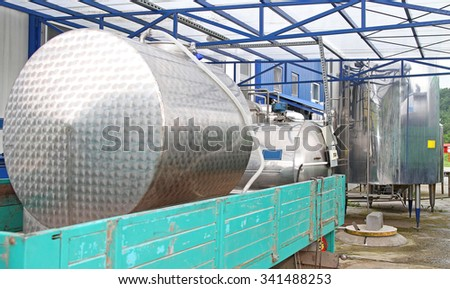 Milk Tank at Truck  Deliver to Dairy Factory - stock photo