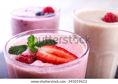Milkshake with strawberry, close-up - stock photo