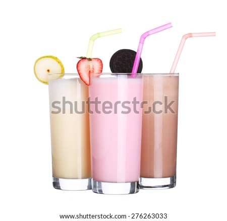 milkshakes chocolate flavor ice cream set collection isolated on white background - stock photo