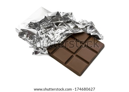Milky chocolate bar in silver foil on white background - stock photo