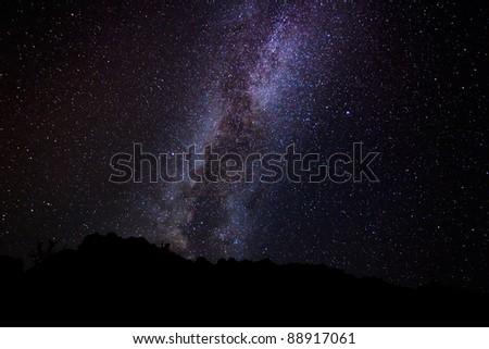 Milky Way Galaxy, Amazing Stars in Night Sky - stock photo