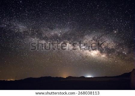 Milky Way Galaxy over Israeli Desert at Night - stock photo