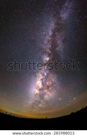 Milky way galaxy over night sky in Thailand - stock photo