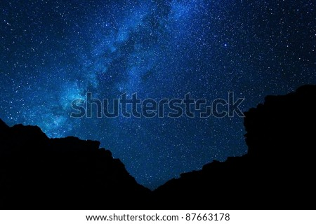 Milky Way Galaxy, Stars at Night - stock photo