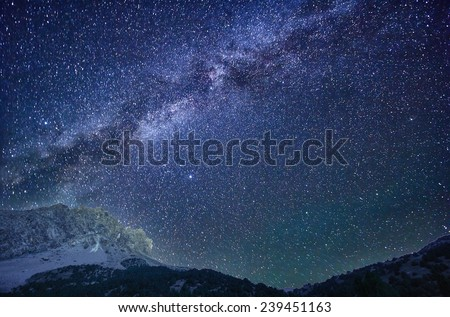 Milky Way in the mountains - stock photo