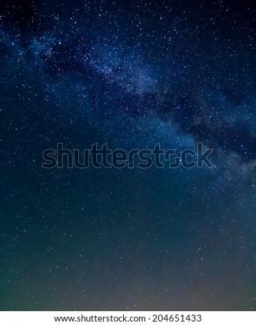 milky way night scene - stock photo