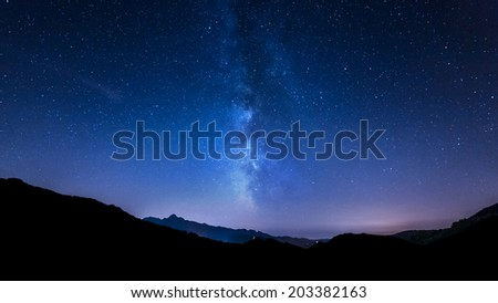 Milky Way. night sky stars. Mountain background - stock photo