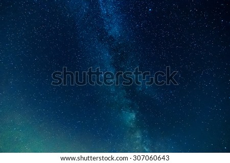 milky way on night sky, abstract natural background - stock photo