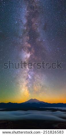Milky Way over Elbrus mountain - stock photo
