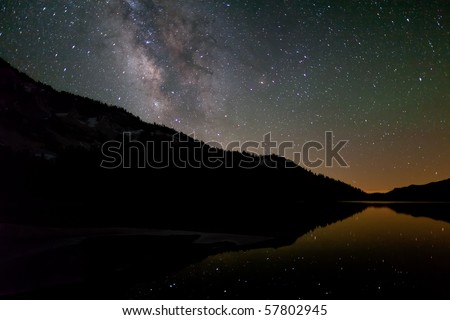 Milky Way over Tenaya Lake - stock photo
