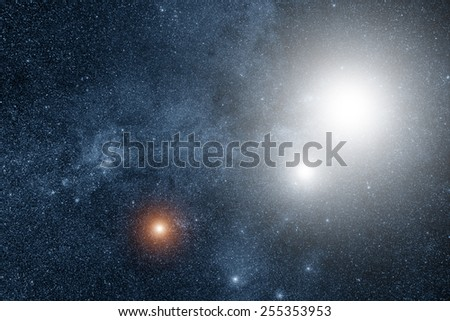 Milky way stars - triple stellar system. Digital illustration. - stock photo