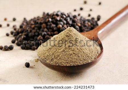milled black pepper ,Black pepper corns  and Black pepper Powder  - stock photo