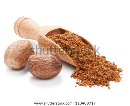 milled nutmeg isolated on white background - stock photo