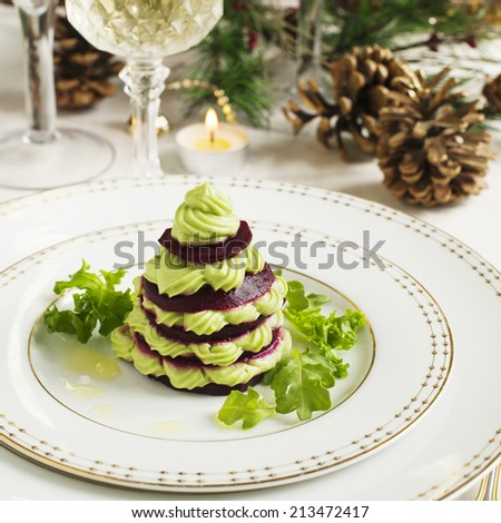 Millefeuille with beetroot and avocado mousse - stock photo