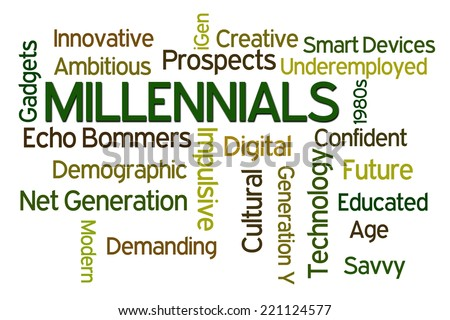 Millenials word cloud on white background - stock photo