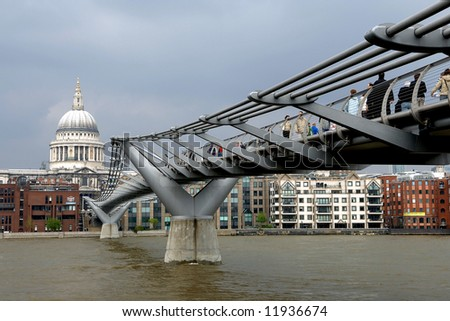 millenium bridge and london - stock photo