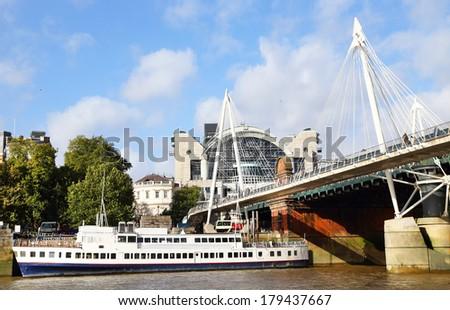 Millenium bridge in London City, Great Britain, Europe - stock photo