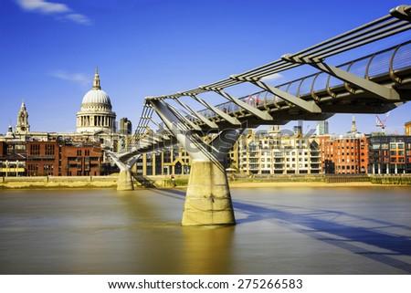 Millenium Bridge in London, England - stock photo