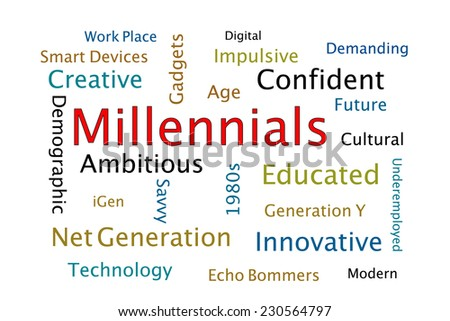 Millennials word cloud - stock photo