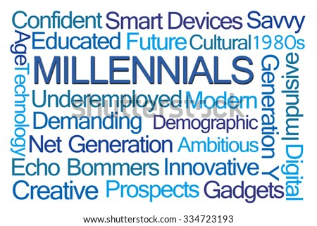 Millennials Word Cloud on White Background - stock photo