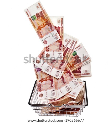 Million Banknotes Rubles of the Russian Federation falling in your shopping basket cart - isolated on white background - stock photo