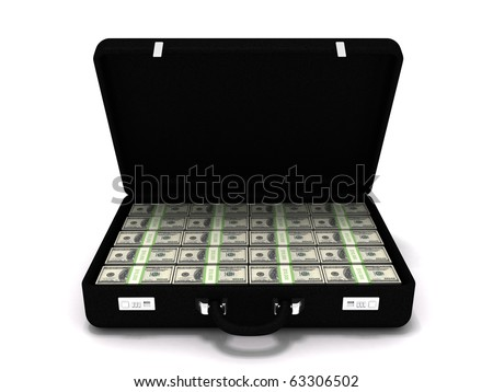 Million dollar briefcase - stock photo