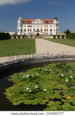 Milotice and water lilies - stock photo