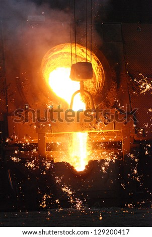milting of iron - stock photo
