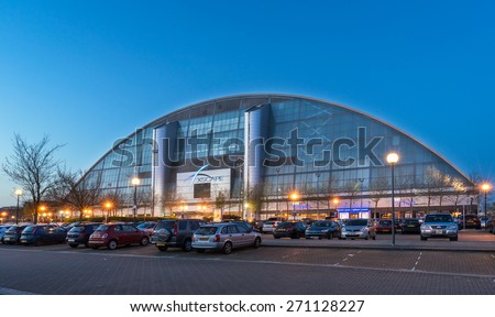 Milton Keynes, England, 19th April 2015 : Xscape Milton Keynes is the ultimate entertainment destination offering extreme sports and leisure activities where you can play, eat & shop day and all night - stock photo