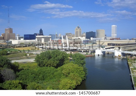 Milwaukee skyline with Menomonee River in foreground, WI - stock photo