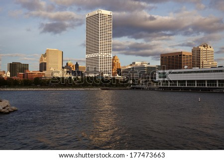 Milwaukee, Wisconsin seen from Lakefront - stock photo