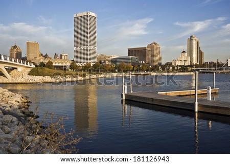 Milwaukee, Wisconsin seen from marina - stock photo