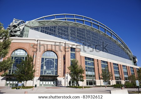 MILWAUKEE, WISCONSIN, USA - August 24, 2011: Miller Park seen with blue sky seen during summer day. Miller Park was built in 2001. Home for Milwaukee Brewers. The capacity of the stadium is 41,900. - stock photo